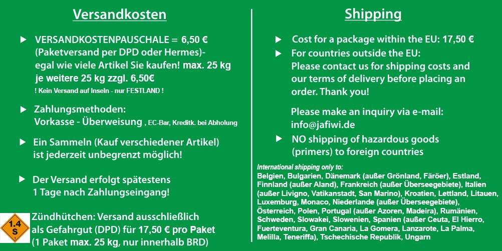 Fusszeile JaFiWi - Jagd- Fischerei- und Wiederladeartikel Steiner